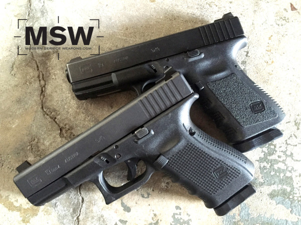 A pair of Glock 19s, in Gen3 and Gen4. Though there are some differences, both are perfectly serviceable.